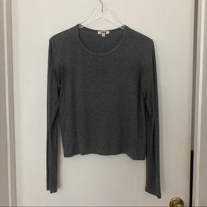 LNA modal blend ribbed grey long sleeve tee shirt